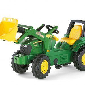 Tractor a pedales John Deere con pala excavadora delantera para niños