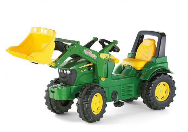 Tractor a pedales John Deere con pala excavadora delantera para niños 3