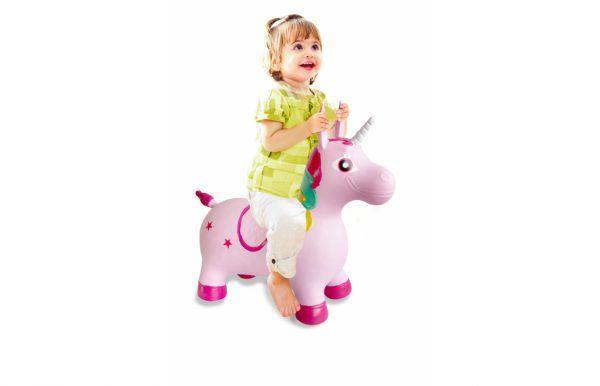 Unicornio colorido animal saltarín con bomba 3