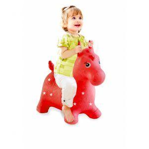Caballo rojo animal saltarín con bomba