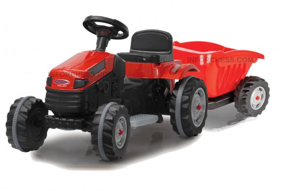 Tractor Strong Bull Rojo 6V + Remolque 3