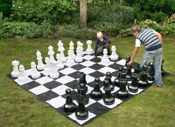 Piezas de ajedrez de jardín mas tablero lona 2