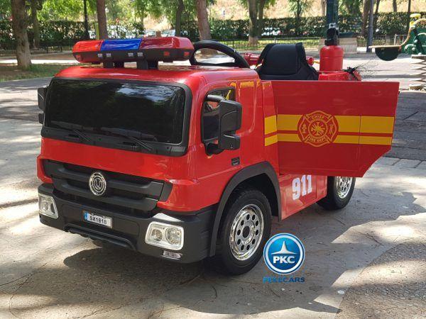 Pekecars Camión de Bomberos Rojo 12V 2.4G 1 Plaza con Sistema Balancin 3