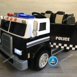 PEKECARS CAMIÓN DE POLICÍA NEGRO 2 PLAZAS 12V 2.4G