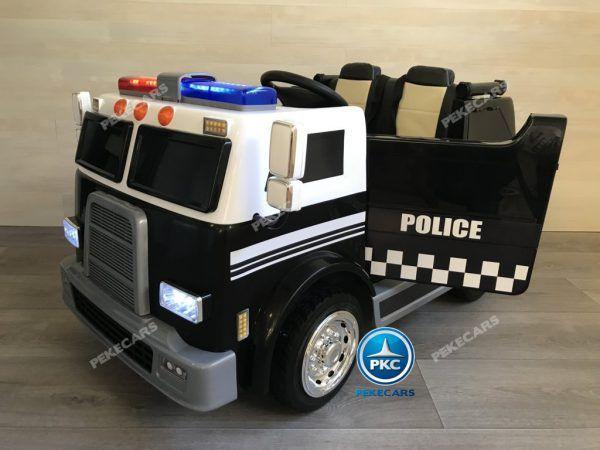 PEKECARS CAMIÓN DE POLICÍA NEGRO 2 PLAZAS 12V 2.4G 3