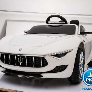 Maserati Alfieri con MP4 para niños 12V 2.4G Blanco