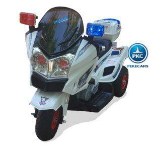PEKECARS TRIMOTO POLICIA 12V CON DOBLE VELOCIDAD WHITE