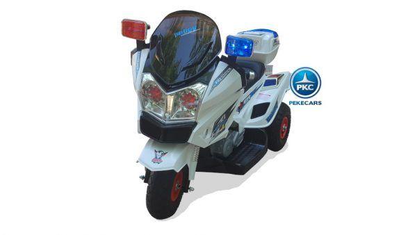 PEKECARS TRIMOTO POLICIA 12V CON DOBLE VELOCIDAD WHITE 3