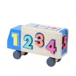 Camión de Juguete con Números de Madera