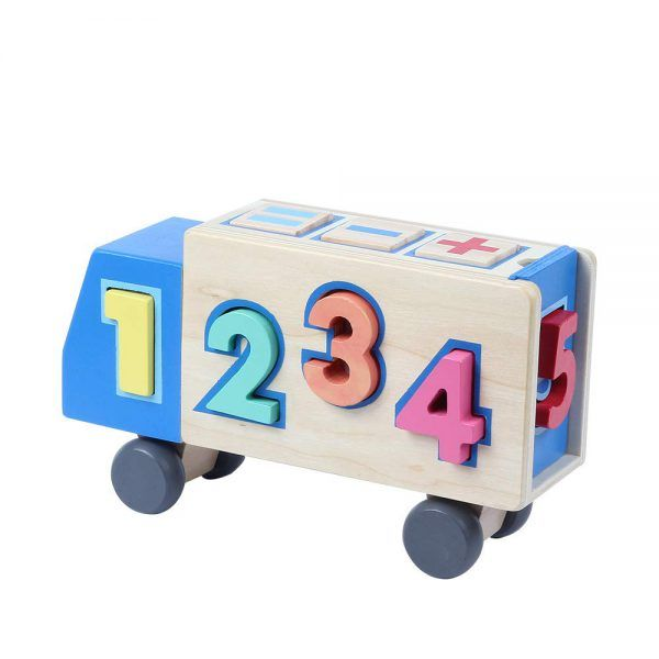 Camión de Juguete con Números de Madera 3