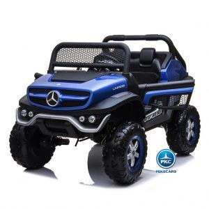 Todoterreno Mercededes Unimog 12V 2.4G Azul Metalizado con MP4