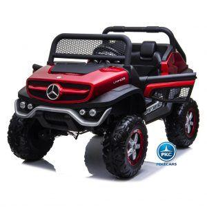Todoterreno Mercededes Unimog 12V 2.4G Rojo Metalizado con MP4